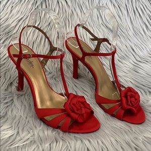 Charles David red satin rose sandals heels